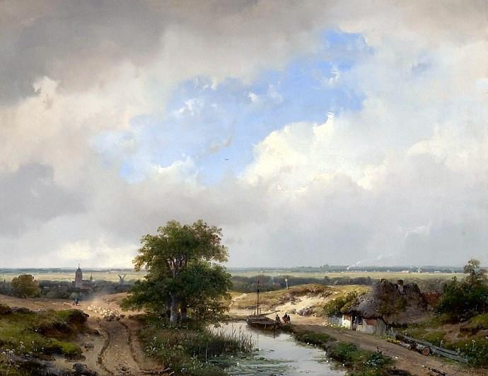 Andreas Schelfhout, 'Duinlandschap met zicht op Haarlem, 1847'