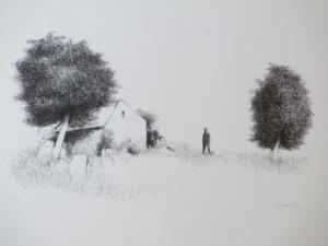 a-figuur-bij-huis-en-bomen